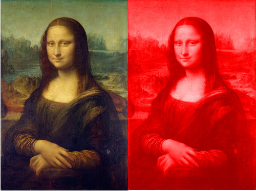 mona lisa painting in red